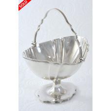 Small Edwardian Silver Swing Handle Basket 1906