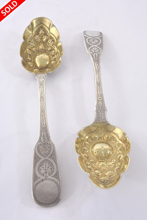 Rare Pair of Silver Berry Spoons – Exeter 1817