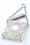 Victorian Silver Card Case with Chatelaine Chain 1857