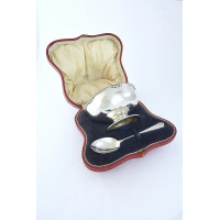 Antique Silver Cased Christening Set 1918