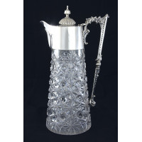 Victorian Silver Mounted Cut Glass Claret Jug 1894
