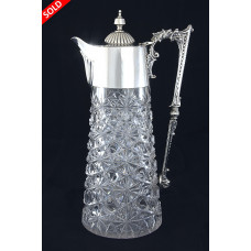 Victorian Silver Mounted Cut Glass Claret Jug 1894