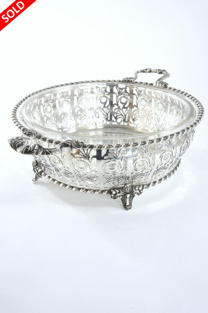 Large Pierced Silver Dish with Glass Liner 1926