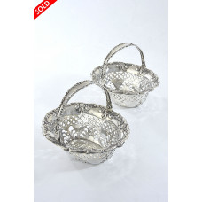 Pair of  Edwardian Silver Swing Handle Bonbon Dishes 1904