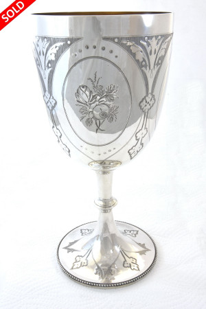 Large Victorian Silver Goblet 1873