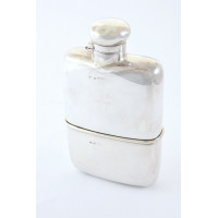 Edwardian Antique Silver Hip Flask with Cup 1904