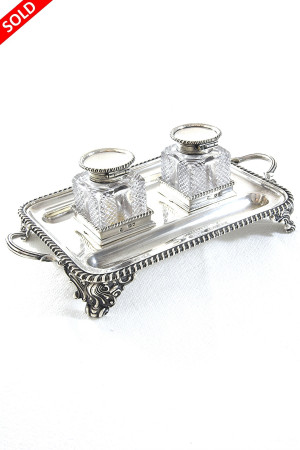 Victorian Silver Inkwells & Stand 1894