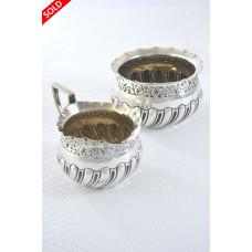 Edwardian Silver Cream Jug & Sugar Bowl 1906