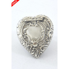Victorian Silver Pill Box – Heart Shaped 1898