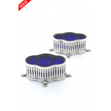 Pair of Edwardian Pierced Silver and Blue Glass Salts 1902