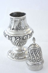 Large Edwardian Embossed Silver Sugar Shaker 1908