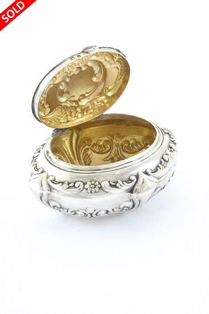 Antique Embossed Silver Trinket Box 1910