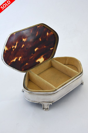 Antique Silver Trinket Box with Tortoiseshell Lid 1923