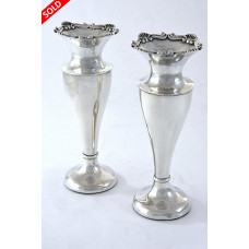 Pair of Edwardian Silver Posy Vases 1904