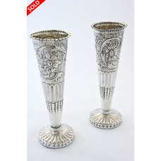 Pair of Silver Victorian Posy Vases 1878