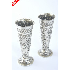Pair of Victorian Silver Posy Vases 1901