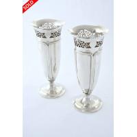 Pair of Antique Silver Art Nouveau Vases - 1918